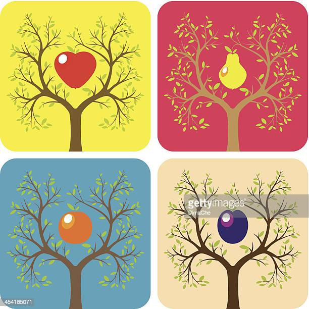 stockillustraties, clipart, cartoons en iconen met fruit trees - frische