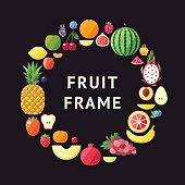 Fruit vector circle frame background. Modern flat design.
