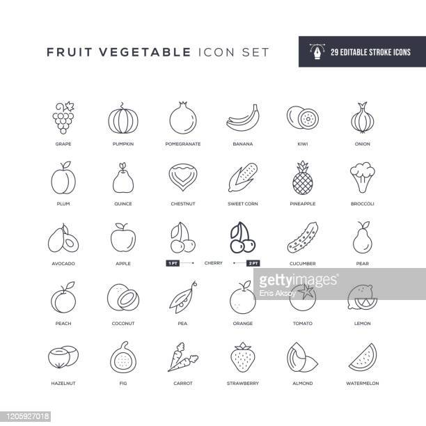 fruit vegetable editable stroke line icons - vegetable stock illustrations