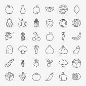 Fruit Vegetable Line Art Design Icons Big Set