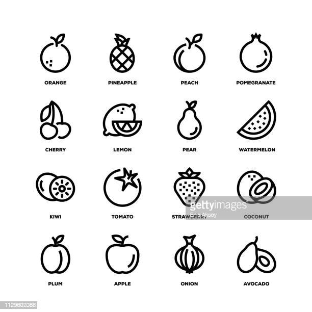 Fruit Vegetable Line Icons