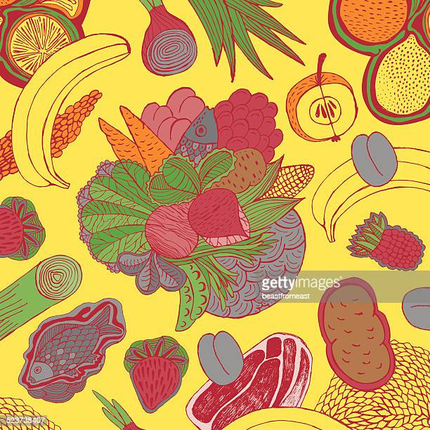 fruit, vegetables, meat and fish - common beet stock illustrations, clip art, cartoons, & icons