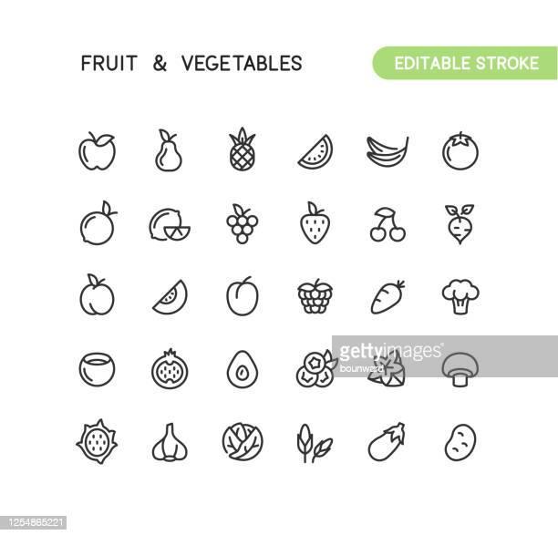 ilustraciones, imágenes clip art, dibujos animados e iconos de stock de fruit & vegetables outline iconos trazo editable - fruta