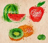 Fruit watercolor watermelon, kiwi, apple red in kraft