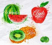 Fruit watercolor watermelon, kiwi, apple red