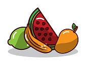 fruit watermelon banana mango and lemon