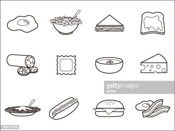 fruits 3 icon set. - toast bread stock illustrations, clip art, cartoons, & icons