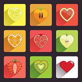 Fruits and berries flat icons set