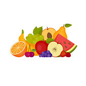 Fruits and berries. Healthy food. Flat style, vector illustration.