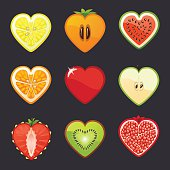 Fruits and berries icons set