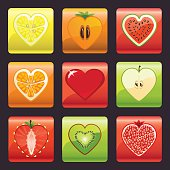 Fruits and berries icons set.Heart shape