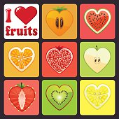 Fruits and berries icons set.I love fruits