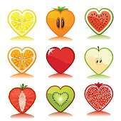 Fruits and berries icons set.White background