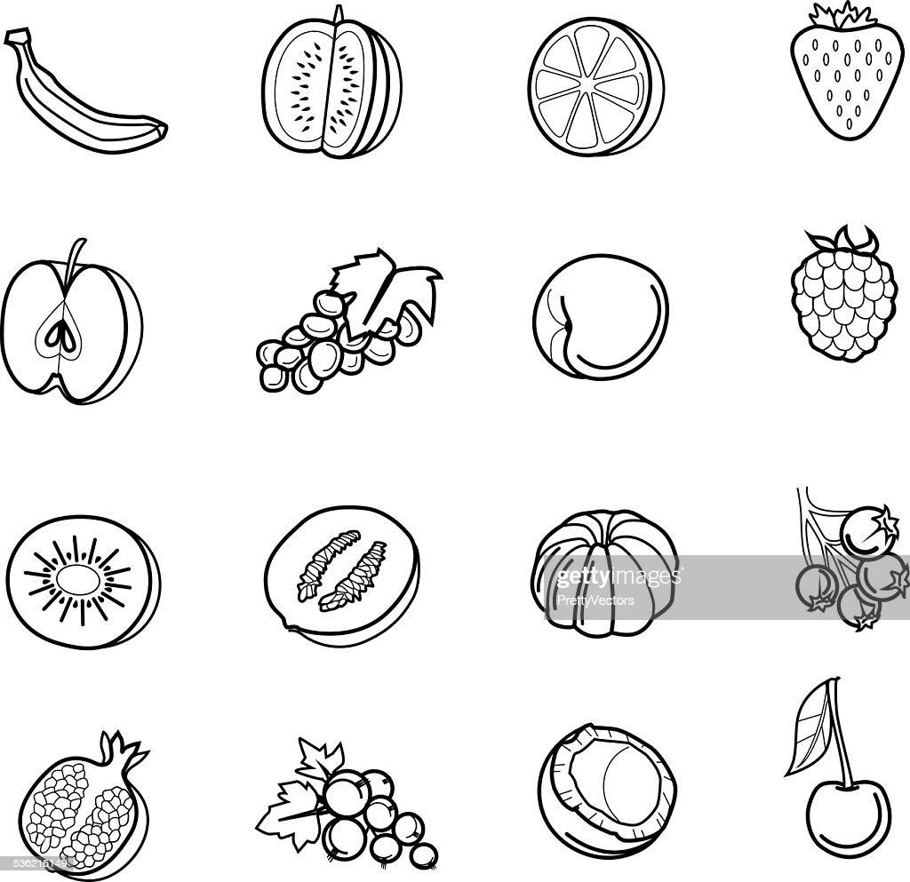 Fruits and berries vector black icon set