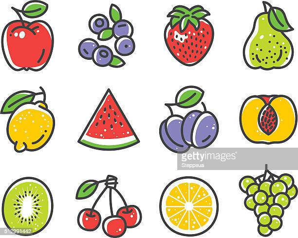 fruits and berries - apple fruit stock illustrations