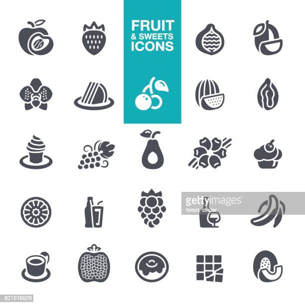 fruits and sweet tastes icons - mango fruit stock illustrations, clip art, cartoons, & icons
