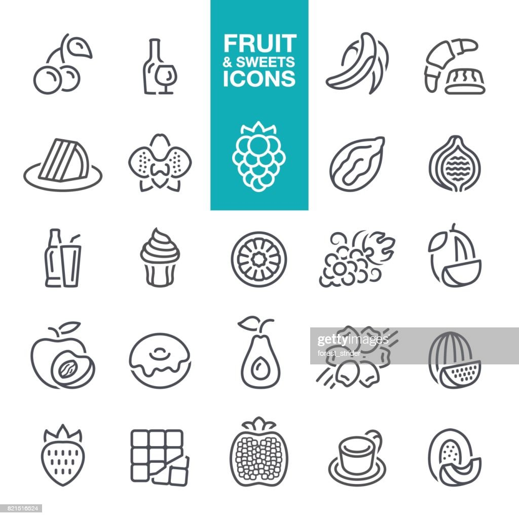 Fruits and sweet Tastes line icons