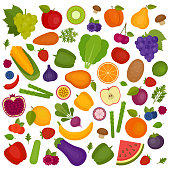 Fruits and vegetables background. Organic and healthy food. Flat style, vector illustration.