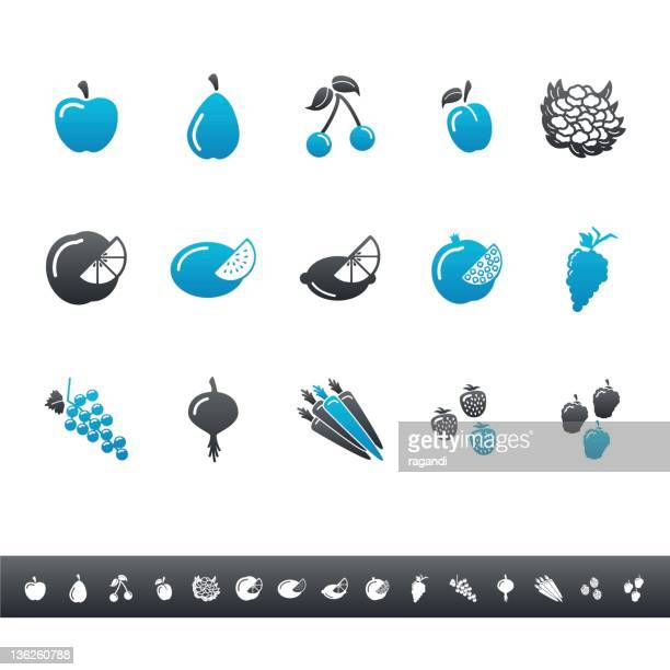 fruits and vegetables   blue grey - serving size stock illustrations, clip art, cartoons, & icons