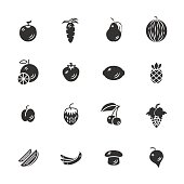 Fruits and vegetables icon set