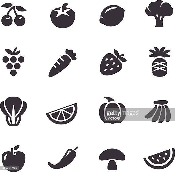 fruits and vegetables icons - acme series - broccoli stock illustrations, clip art, cartoons, & icons