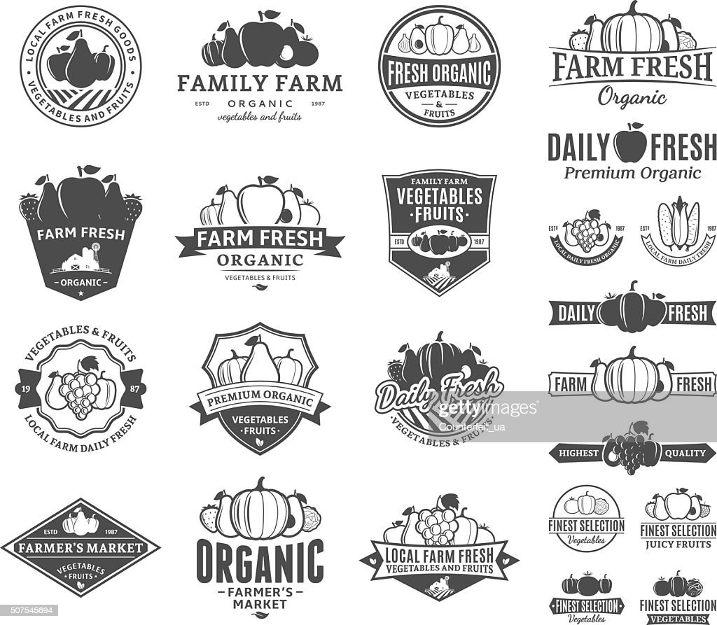 Fruits and Vegetables Labels, Icons and Design Elements