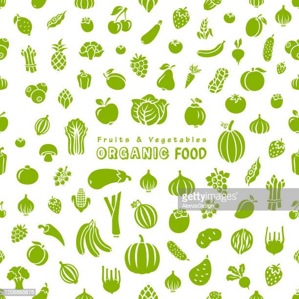 fruits and vegetables. organic food. - drawing artistic product stock illustrations