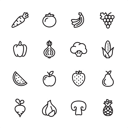 Fruits and Vegetables - outline icon set - gettyimageskorea