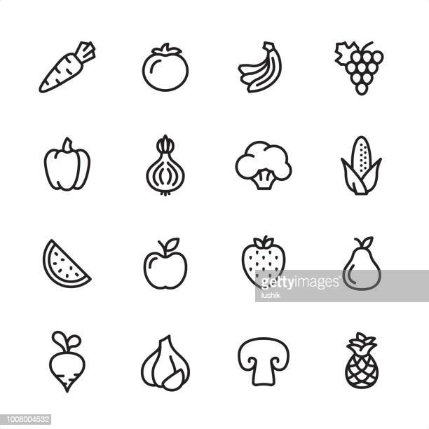 fruits and vegetables - outline icon set - pepper vegetable stock illustrations