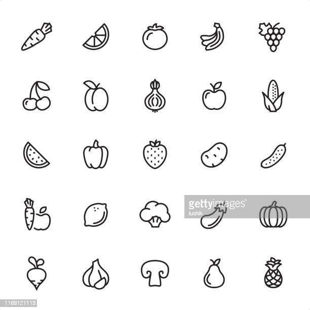 fruits and vegetables - outline icon set - vegetable stock illustrations