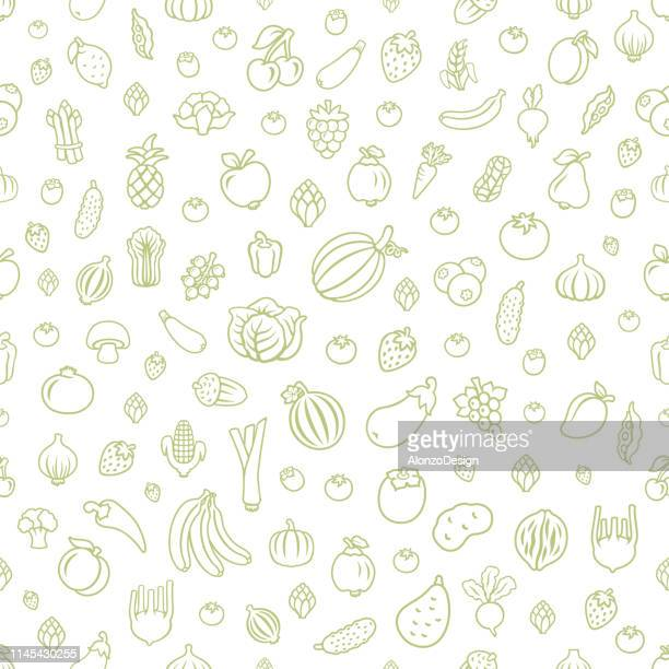 fruits and vegetables. seamless pattern - fruit stock illustrations