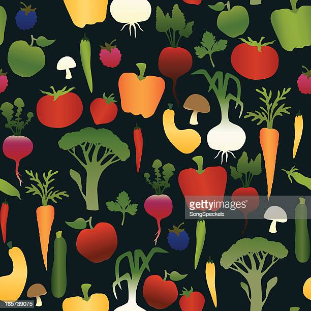 fruits and vegetables seamless pattern - flat leaf parsley stock illustrations
