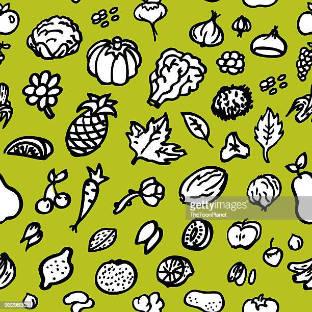 Frutas e produtos hortícolas sem costura padrão