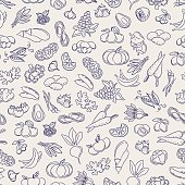 Fruits and vegetables sketch seamless pattern