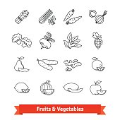 Fruits and Vegetables thin line art icons set