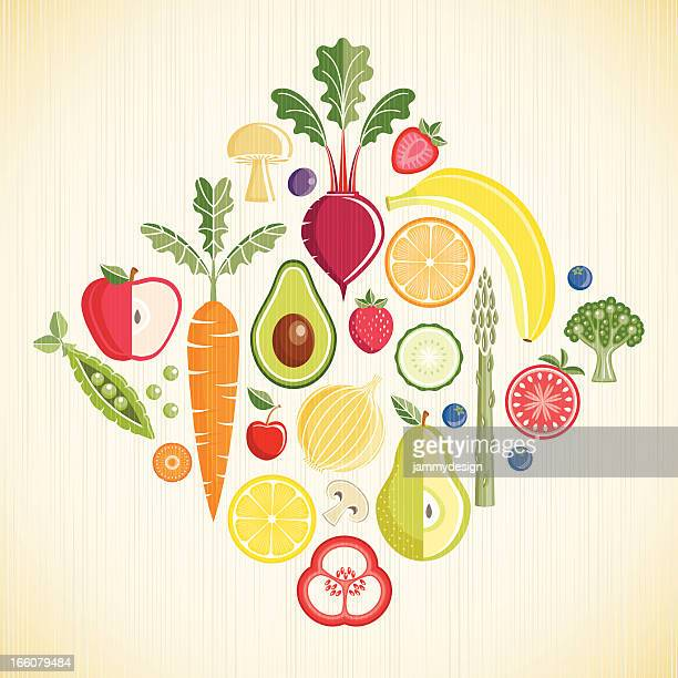 fruits and vegetables - broccoli stock illustrations, clip art, cartoons, & icons