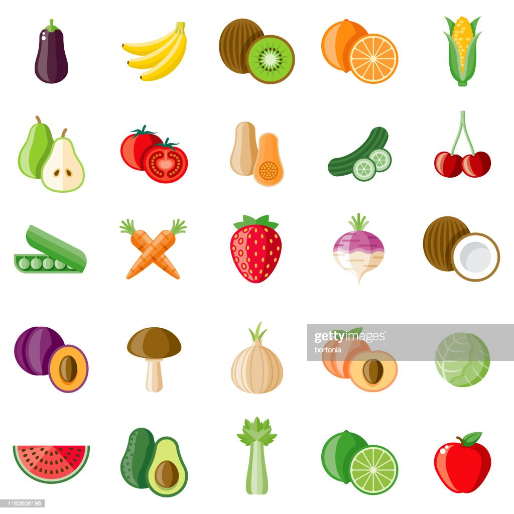 Fruit en groenten icon set : Stockillustraties