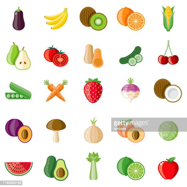 fruits and veggies icon set - fruit stock illustrations