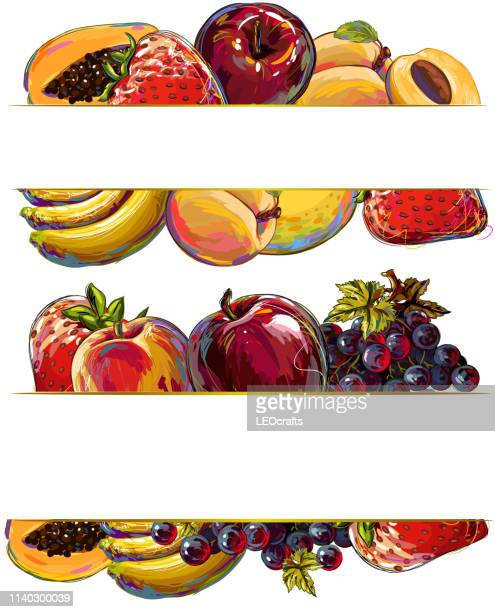 fruits banner - antioxidant stock illustrations, clip art, cartoons, & icons