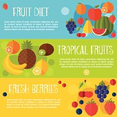 Fruits banners vector illustration.