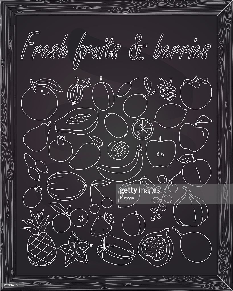 Fruits berries fruit berry fresh set sign poster vector illustration