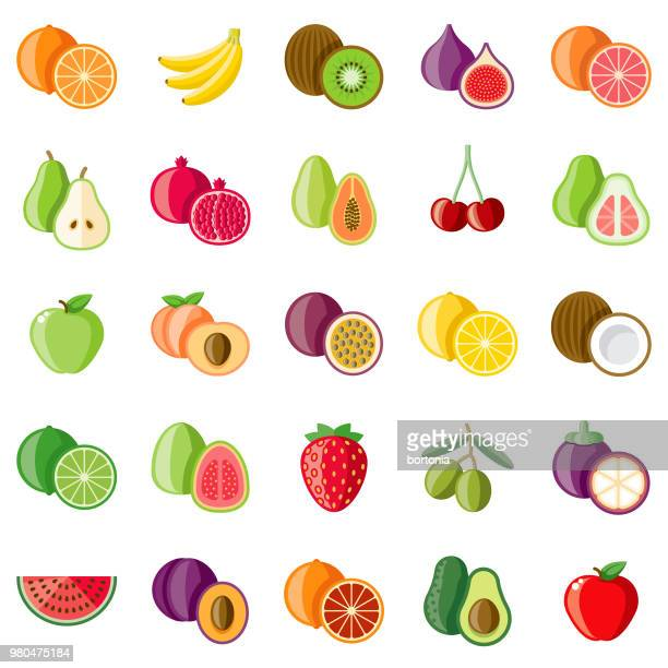 fruits flat design icon set - apple fruit stock illustrations