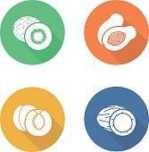 Fruits flat design icons set