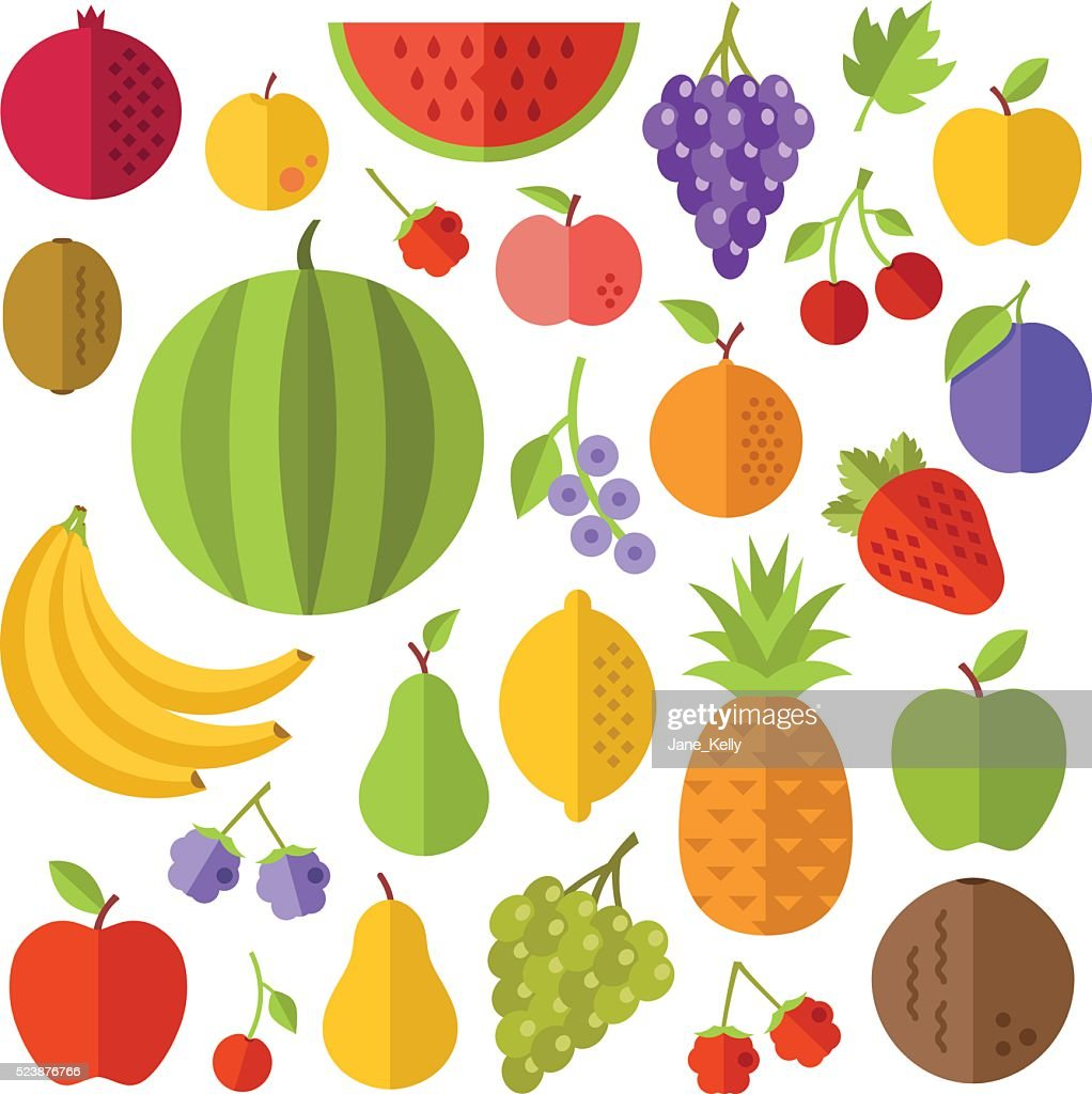 Fruits flat icons set