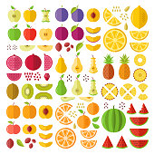 Fruits. Flat icons set. Whole fruits, slices, cuts, wedges, halves, seeds, pits, etc. Flat design graphic elements. Vector icons