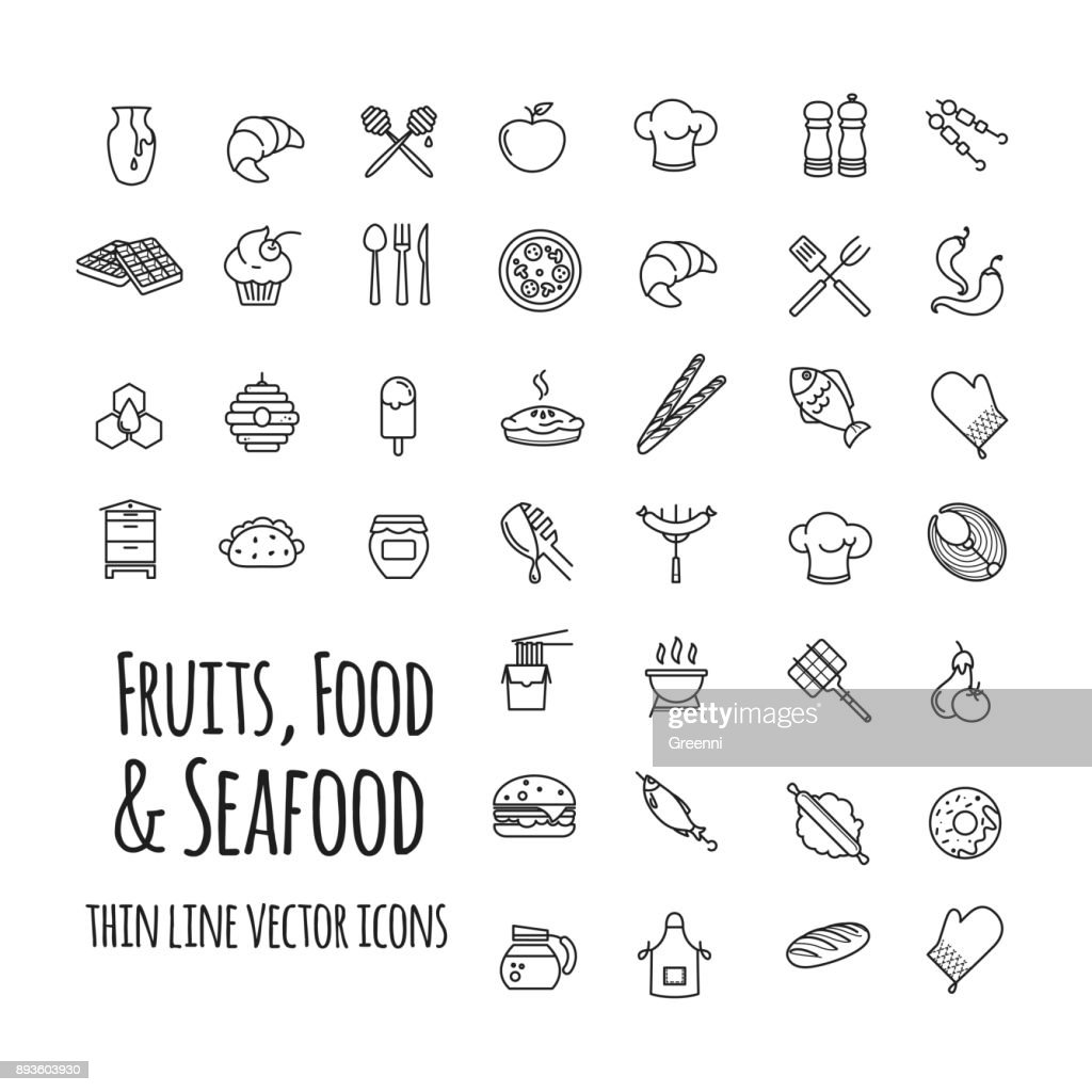 fruits, food and seafood outline set of vector icons