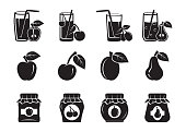 fruits. harvesting. cocktail. stewed fruit and jam. set of icons