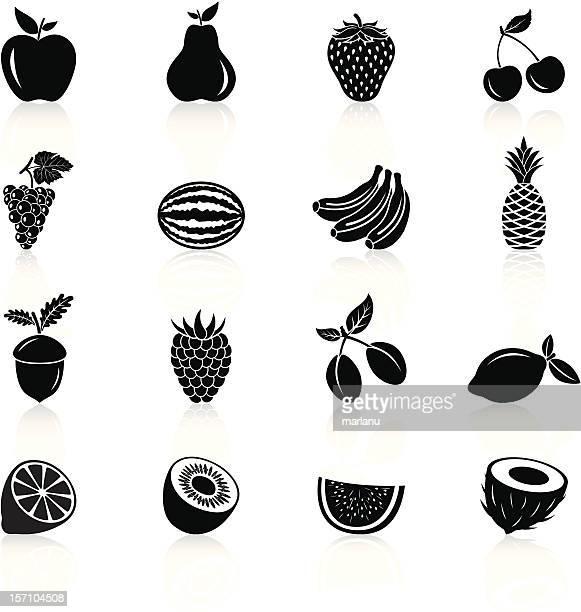 Frutas série de Ícones-preto