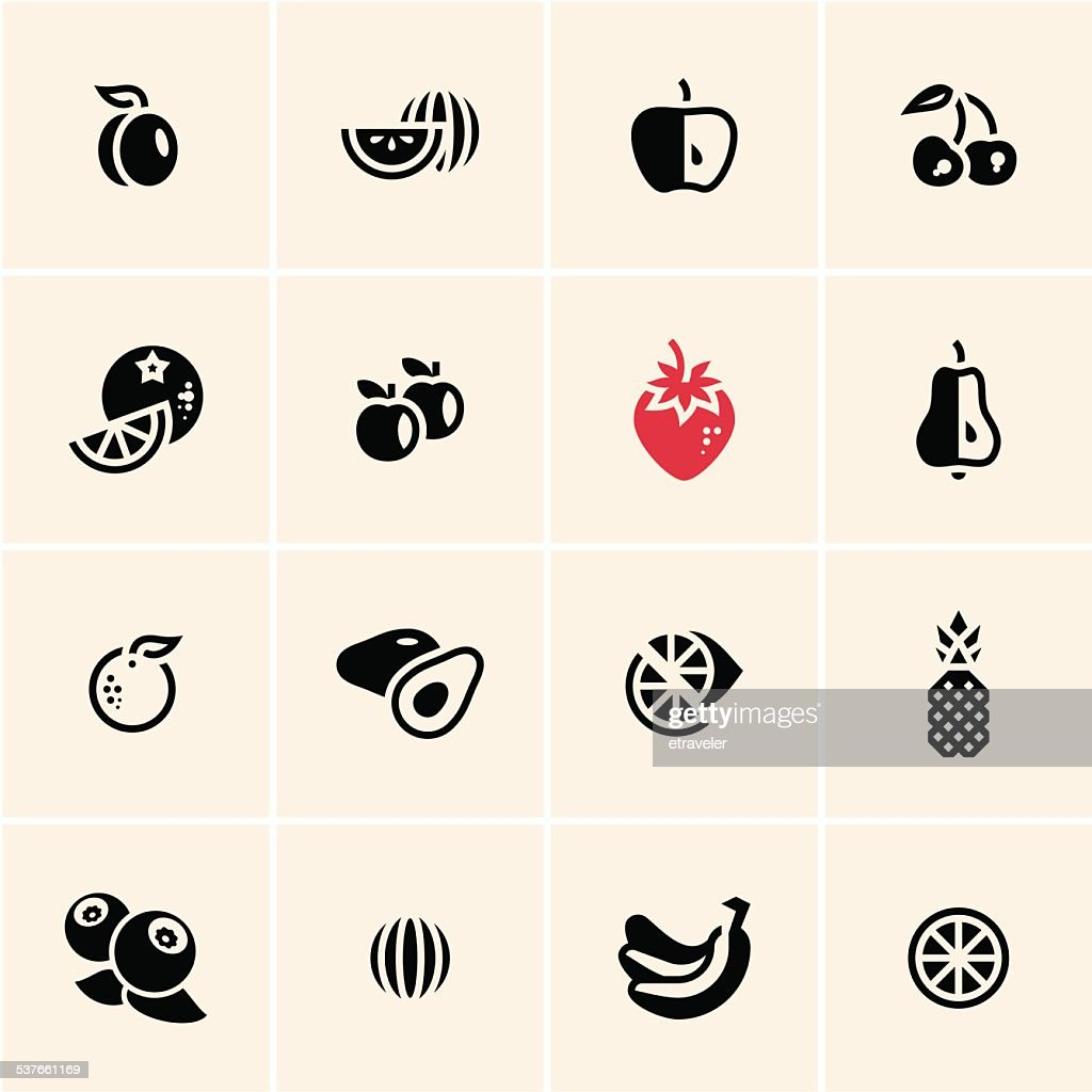 Fruits icons set.
