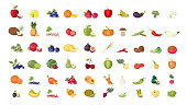 Fruits illustrations set on white background.